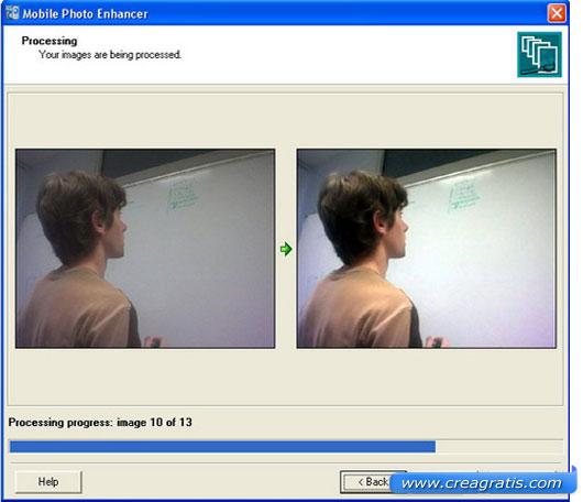 Interfaccia programma per migliorare la qualità delle foto