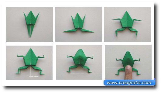 Ultimi passi per realizzare la rana origami