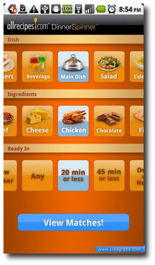 Prima App di ricette per Android