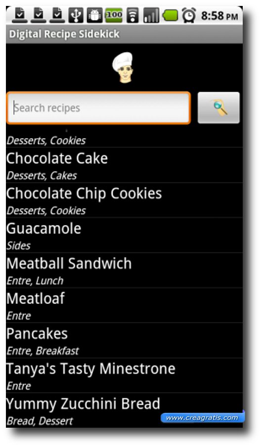 Terza App di ricette per Android