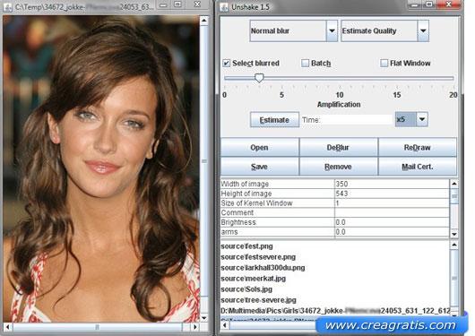 Interfaccia programma per correggere foto mosse