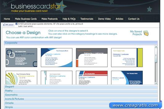 Interfaccia sito per creare biglietti da visita