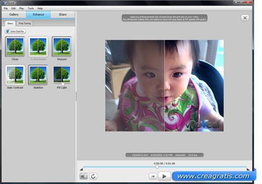Interfaccia programma per migliorare la qualità dei video