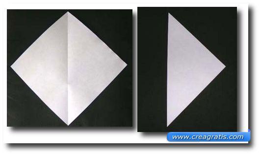 Prima immagine con le istruzioni per fare un cigno di carta