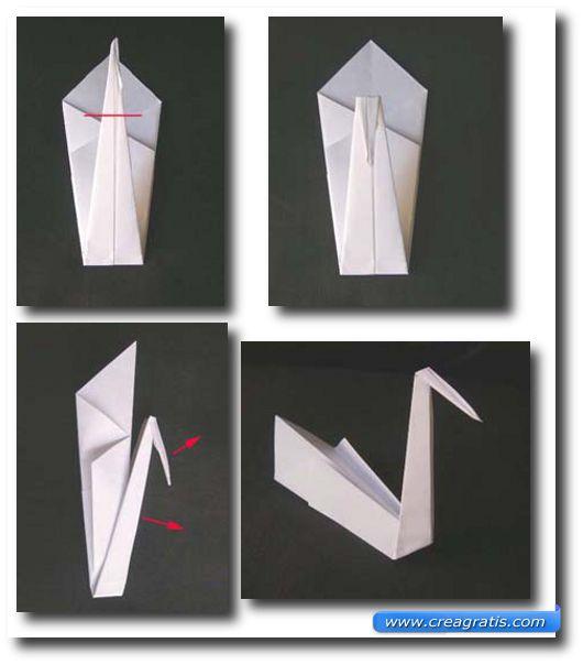 Quarta immagine con le istruzioni per fare un cigno di carta