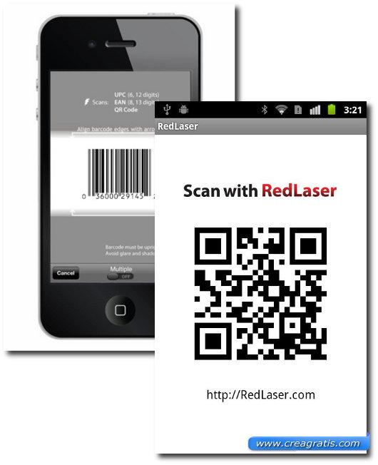 Interfaccia dell'applicazione per leggere i codici QR