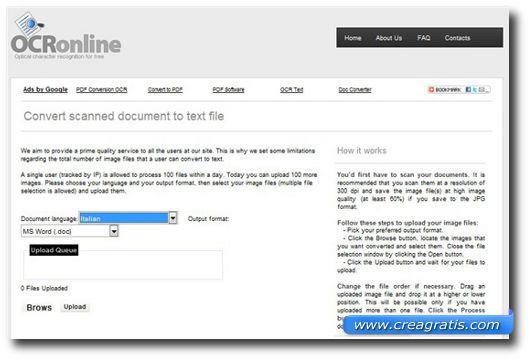 Sito per estrarre il testo da un'immagine di un documento scannerizzato
