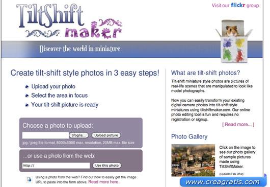Secondo sito per applicare l'effetto Tilt-Shift alle foto