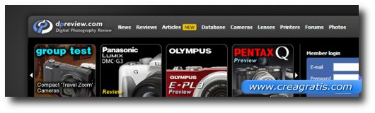 Immagine del primo sito di recensioni di fotocamere digitali