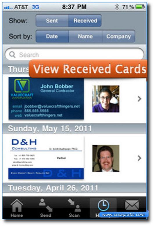 Seconda app per inviare e ricevere biglietti da visita sull'iPhone