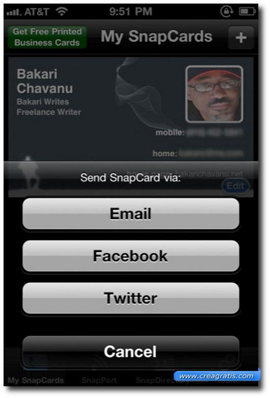 Terza app per inviare e ricevere biglietti da visita sull'iPhone