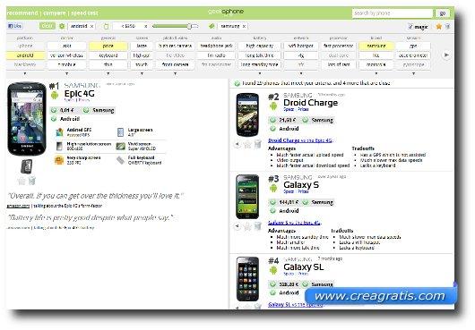 Interfaccia sito per confrontare cellulari e smartphone