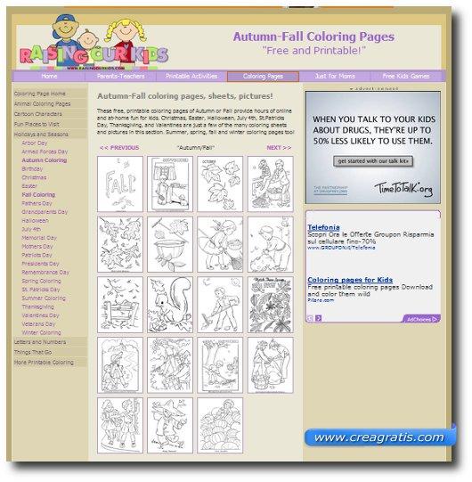 Secondo sito con disegni dedicati all'autunno