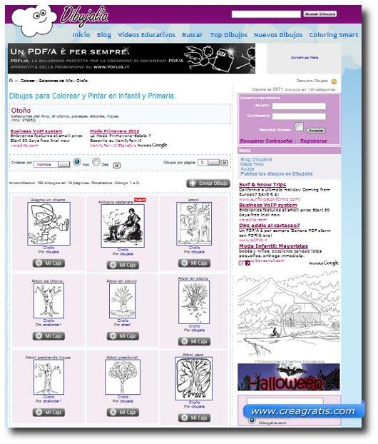 Quinto sito con disegni dedicati all'autunno