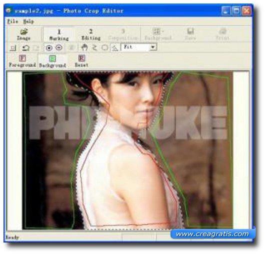 Interfaccia programma per cambiare lo sfondo alle foto