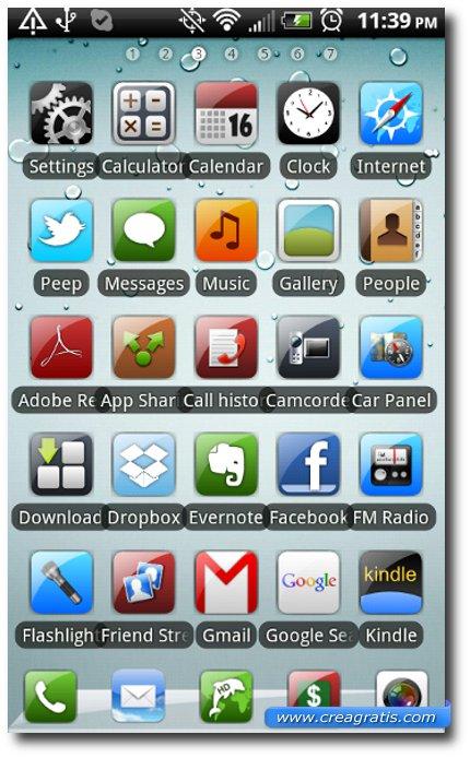 Quinto Tema stile iPhone per smartphone Android