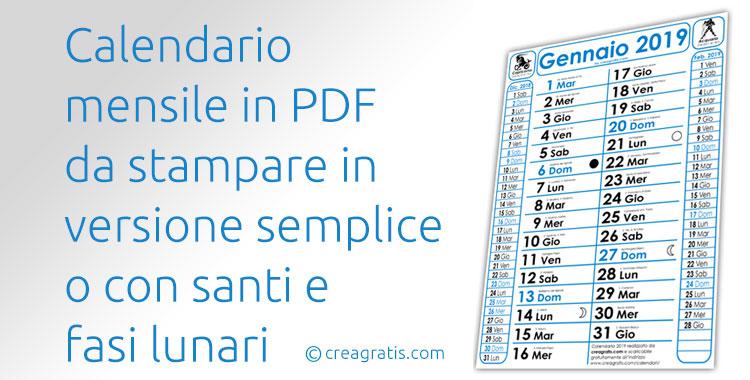 Calendario mensile in PDF da stampare