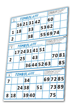 Tombola 90 cartelle e tabellone da stampare gratis pdf for Cartelle tombola per anziani
