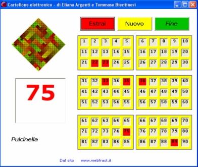 Immagine del primo programma per l'estrazione dei numeri della tombola