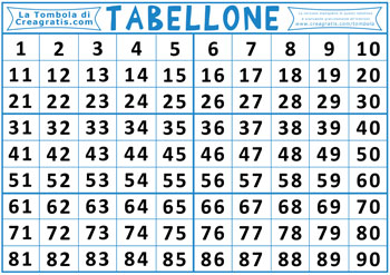 Immagine di esempio del tabellone per giocare a tombola