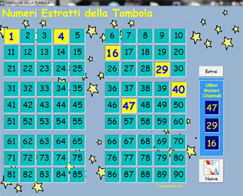 Immagine del secondo programma per l'estrazione dei numeri della tombola