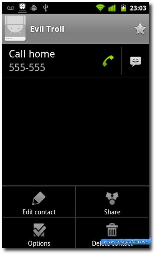 Rubrica di un telefono Android