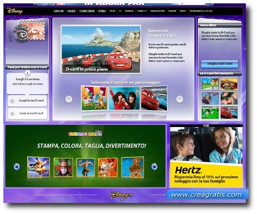 Interfaccia del sito della Disney per creare e inviare cartoline