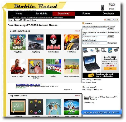Interfaccia del sito per scaricare giochi Samsung