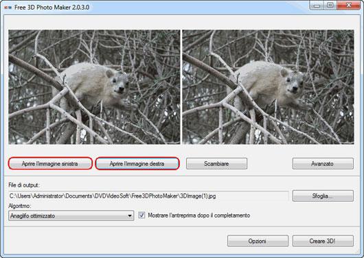 Interfaccia grafica di Free 3D Photo Maker