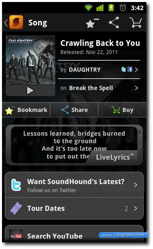 Interfaccia grafica di SoundHound