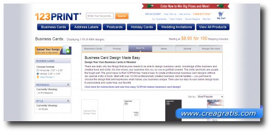 Settimo sito con modelli professionali di biglietti da visita