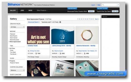 Ottavo sito con modelli professionali di biglietti da visita