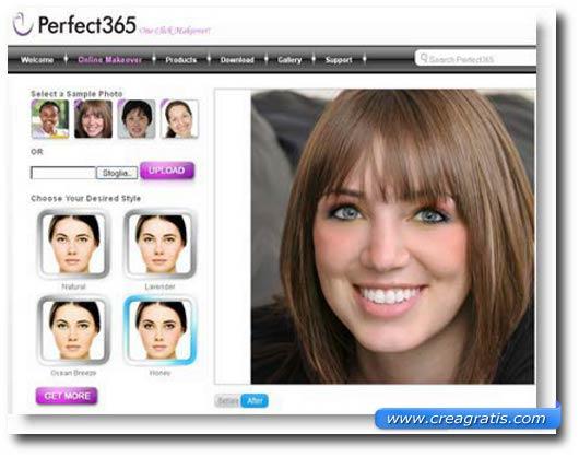 Interfaccia sito per truccarsi il viso su una foto