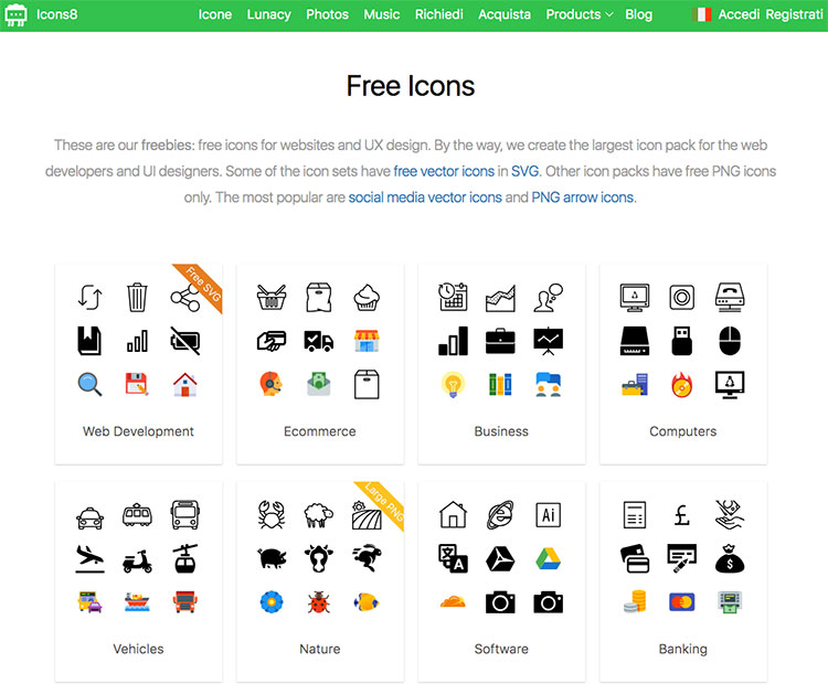 Sito Icons8