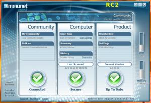 Interfaccia grafica dell'antivirus Immunet Protect Free
