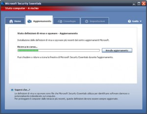 Interfaccia grafica dell'antivirus Microsoft Security Essentials