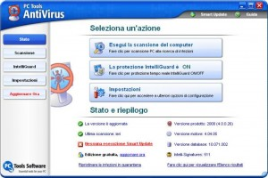 Interfaccia grafica dell'antivirus PC Tools Antivirus