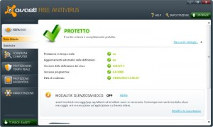 Interfaccia grafica dell'antivirus Avast Free Antivirus