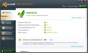 Interfaccia grafica dell'antivirus Avast Free Antivirus