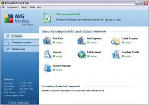 Interfaccia grafica dell'antivirus AVG Free