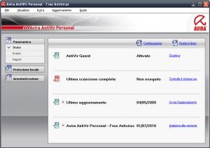 Interfaccia grafica dell'antivirus Avira Antivir