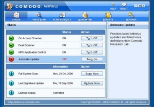 Interfaccia grafica dell'antivirus Comodo Antivirus