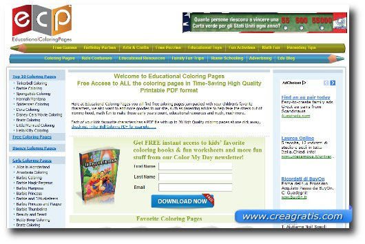 Interfaccia grafica del sito Educational Coloring Pages
