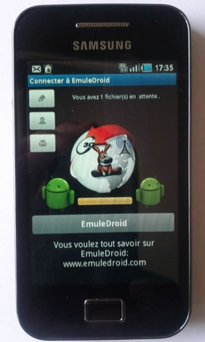 Immagine dell'applicazione eMuleDroid installata su un cellulare Android