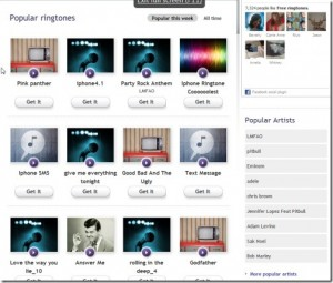 Interfaccia del secondo sito per scaricare suonerie per iPhone gratis