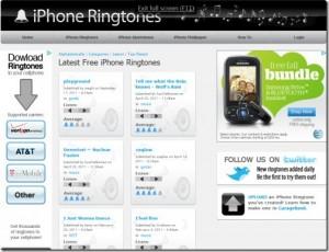 Interfaccia del terzo sito per scaricare suonerie per iPhone gratis