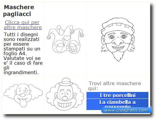 Immagine del sito Midisegni per trovare maschere di carnevale