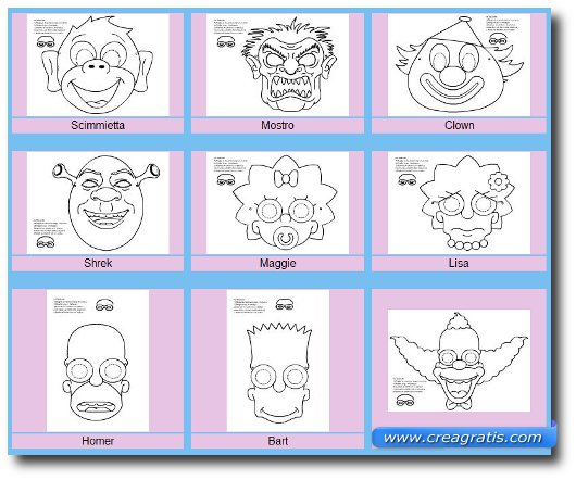 Immagne del sito Baby Flash per trovare maschere di carnevale