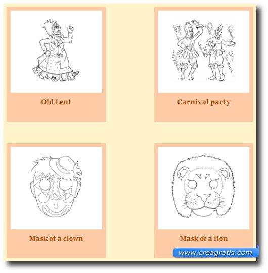 Immagine del sito Dibujos Para Pintar per trovare maschere di carnevale