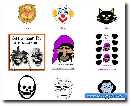 Immagine del sito Parenting per trovare maschere di carnevale